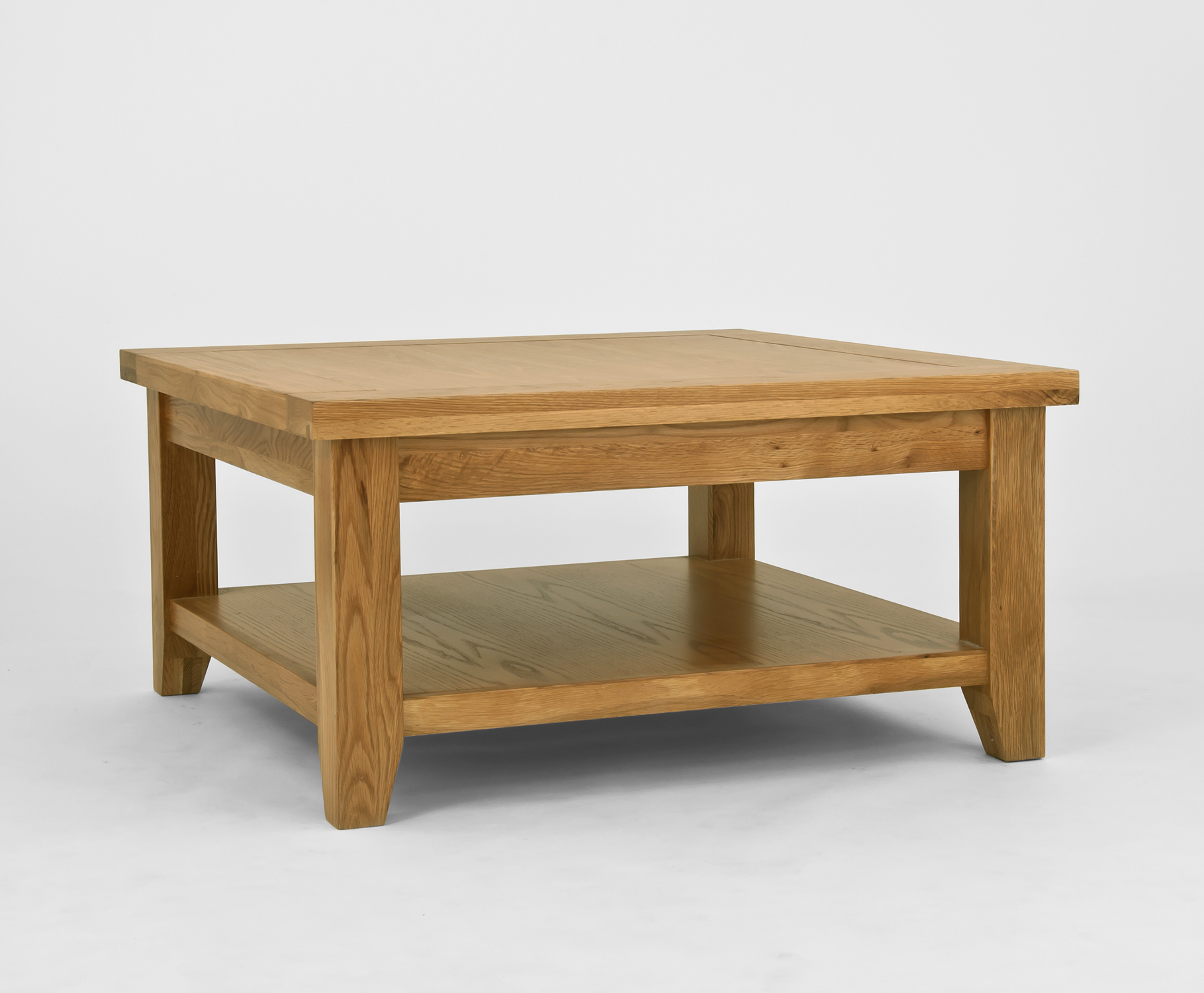 Provence oak square coffee table with shelf cw furniture Square coffee table with shelf