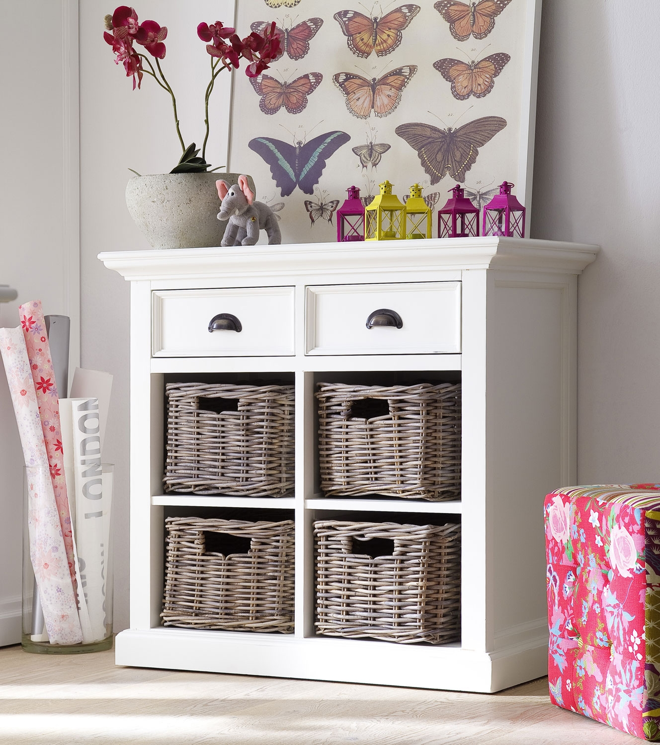 Our Dining Room Furniture Range Whitehaven Painted Small Buffet With 4 Rattan Baskets