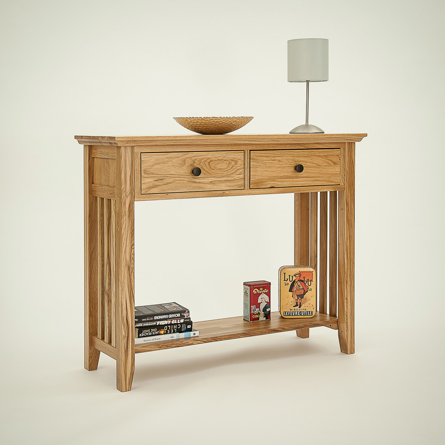 Hereford rustic oak hall table cw furniture