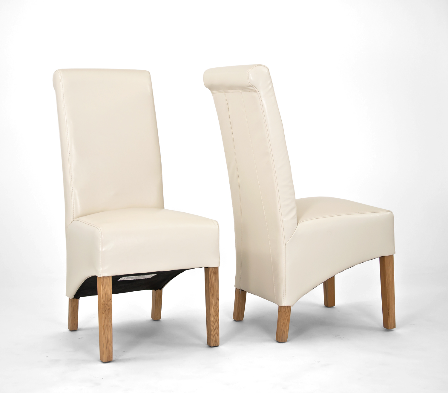 Sherwood oak rolltop pu bicast leather chair cream for New style chair