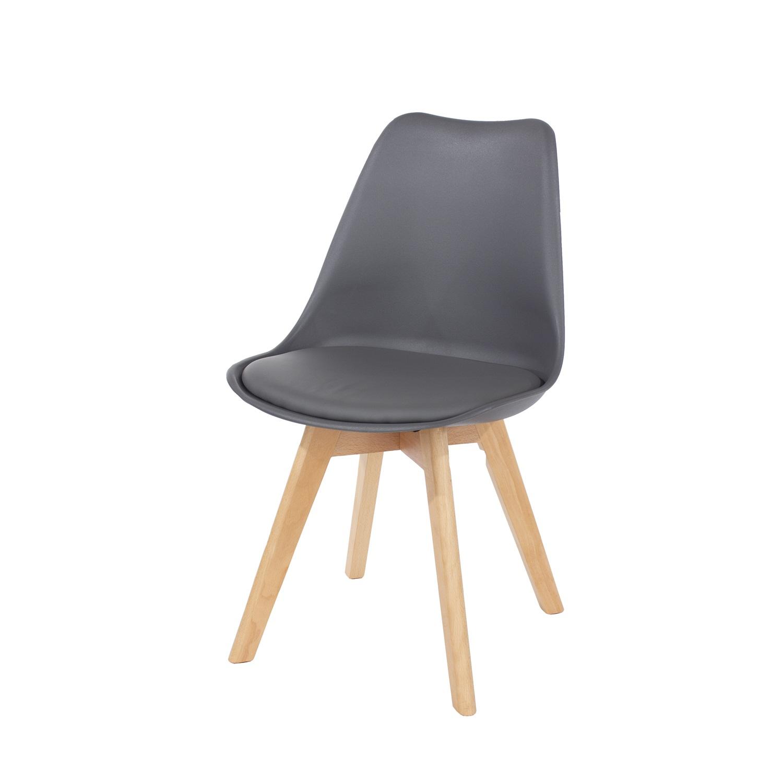 dark grey upholstered plastic chair, wood legs (order in pairs)