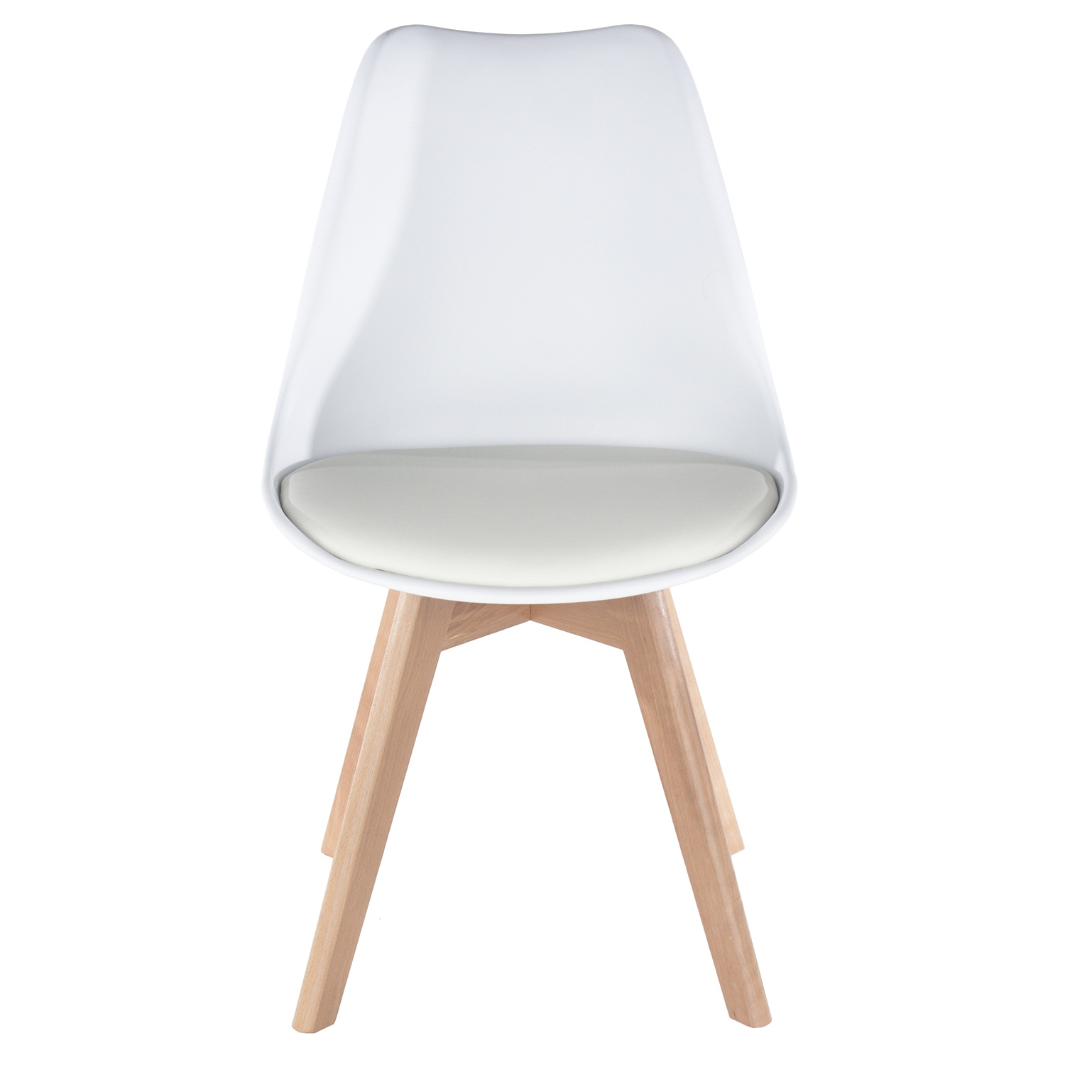 white upholstered plastic chair, wood legs (order in pairs)