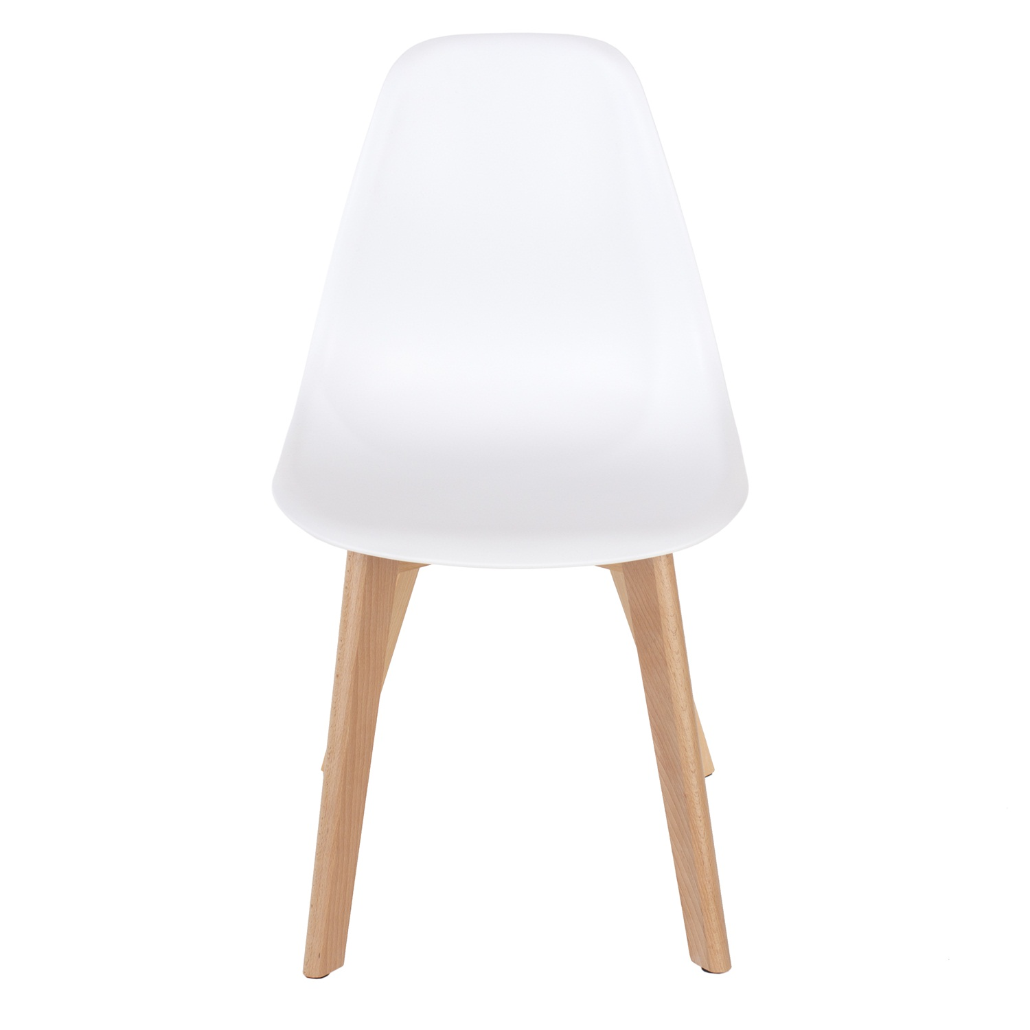 white plastic chair, wood legs (order in pairs)