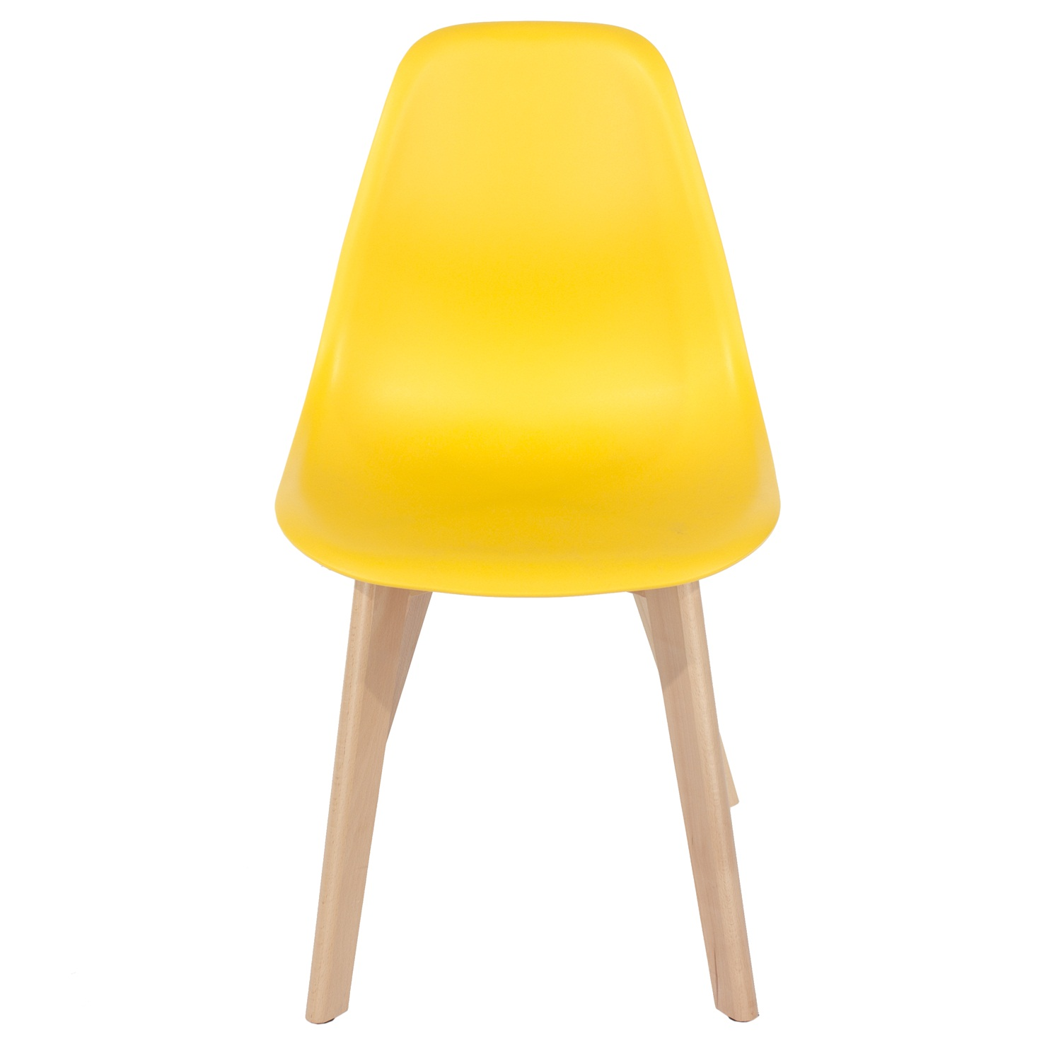 yellow plastic chair, wood legs (order in pairs)