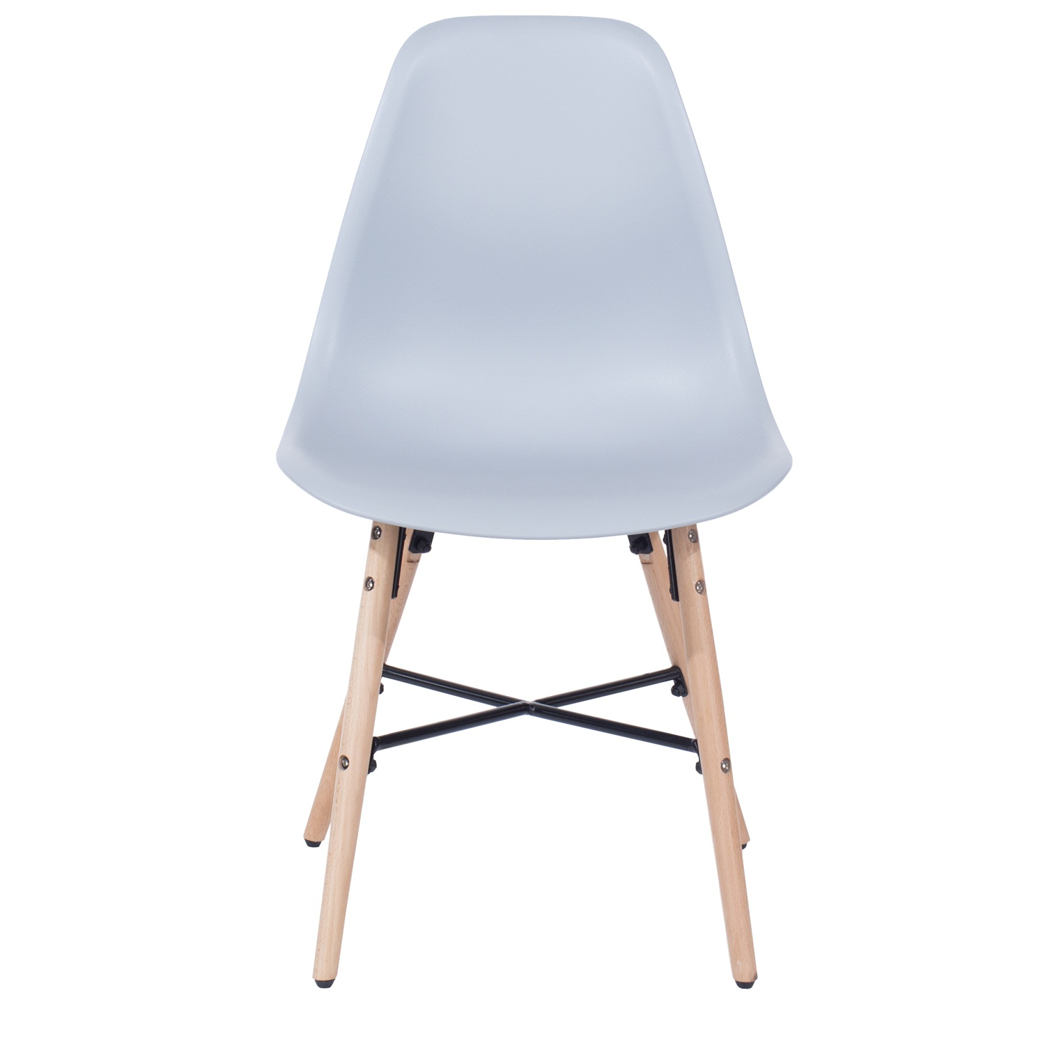 grey plastic chair, wood legs, metal cross rails (order in pairs)