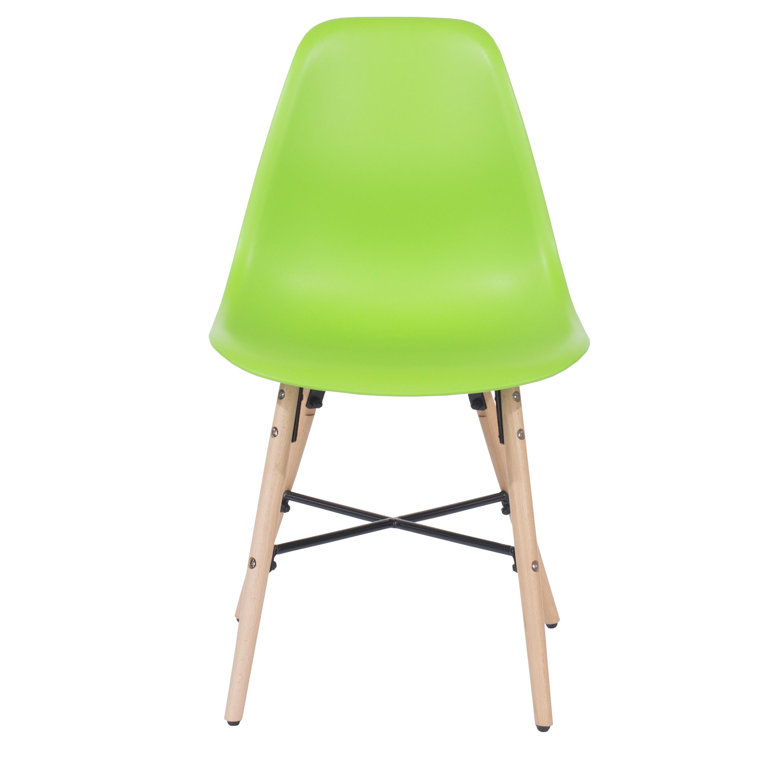green plastic chair, wood legs & metal cross rail (order in pairs)