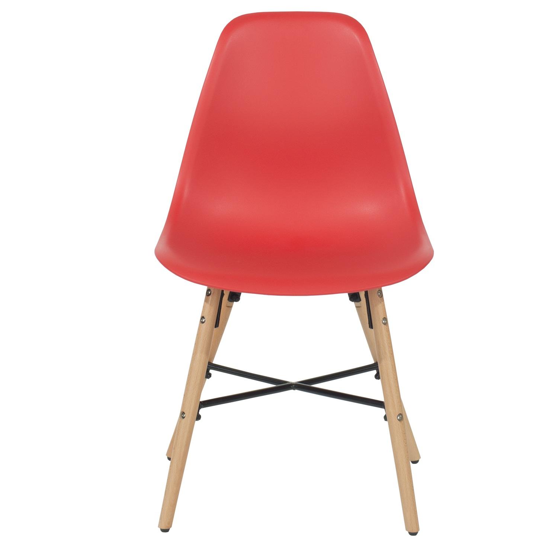 red plastic chair, wood legs, metal cross rails (order in pairs)