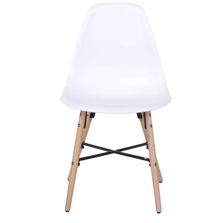 white plastic chair, wood legs & metal cross rail (order in pairs)