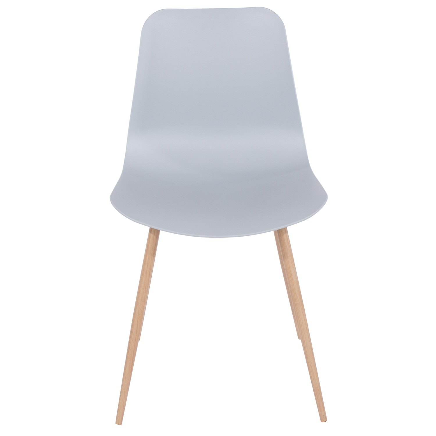 grey plastic chair, wood effect metal legs (order in pairs)