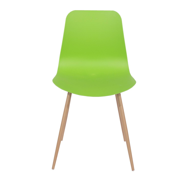 green plastic chair, wood effect metal legs (order in pairs)