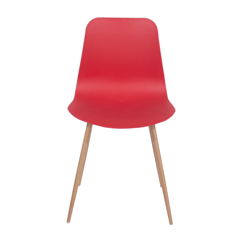 red plastic chair, wood effect metal legs (order in pairs)