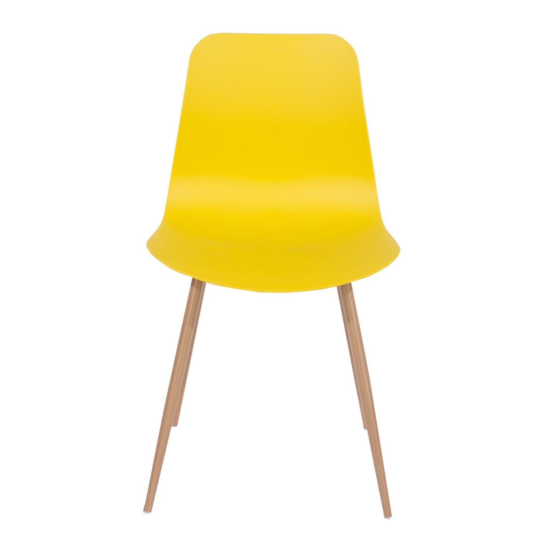 yellow plastic chair, wood effect metal legs (order in pairs)