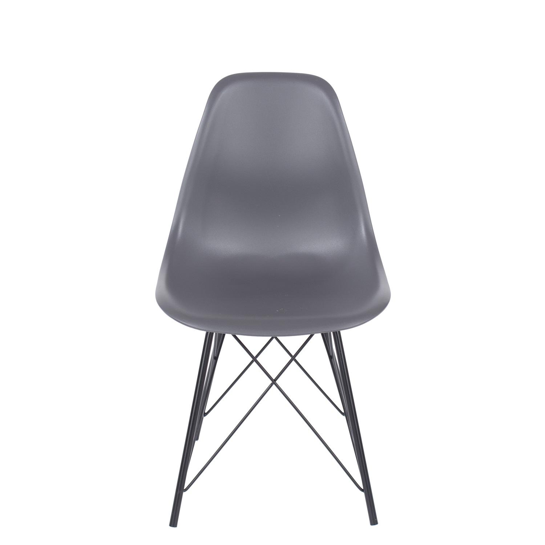 charcoal plastic chair, black metal legs (order in pairs)