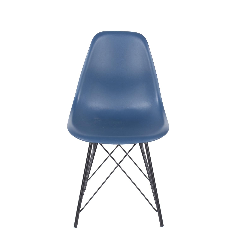 navy blue plastic chair, black metal legs (order in pairs)