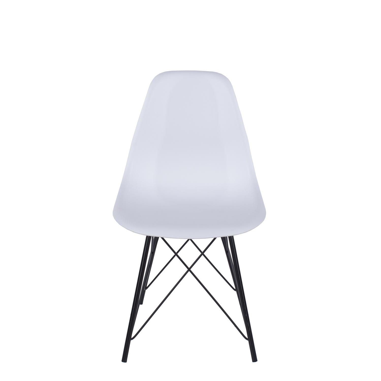 white plastic chair, black metal legs (order in pairs)