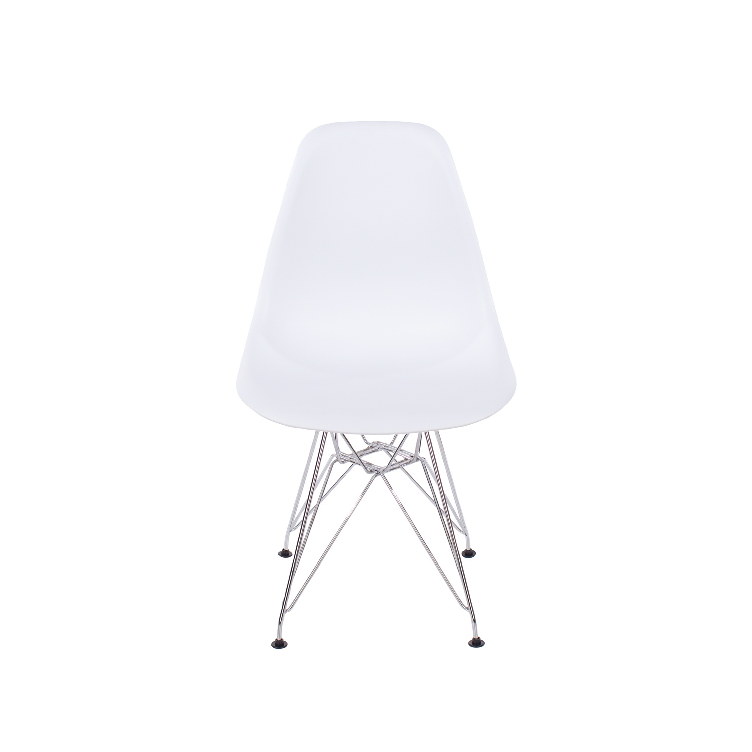 white plastic chair with chrome legs (order in pairs)