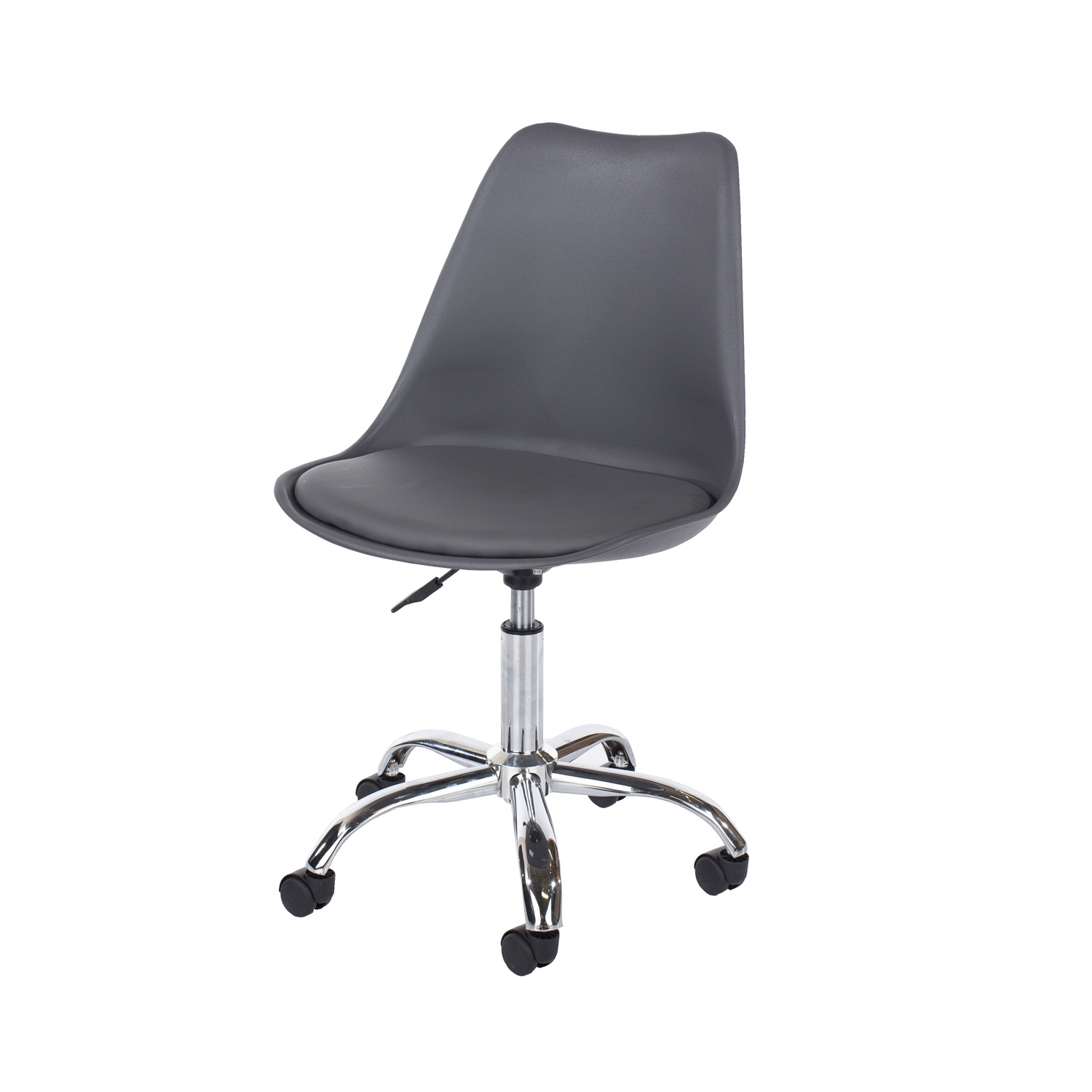 home studio chair with upholstered seat in dk grey