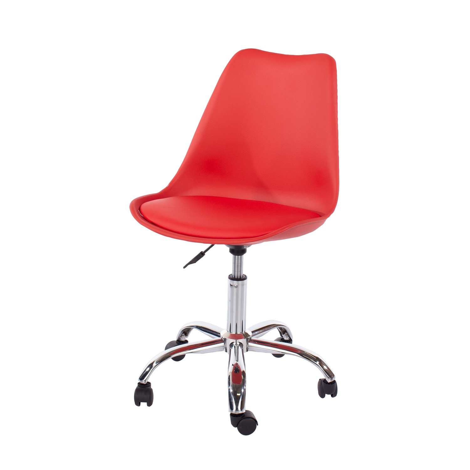 home studio chair with upholstered seat in red