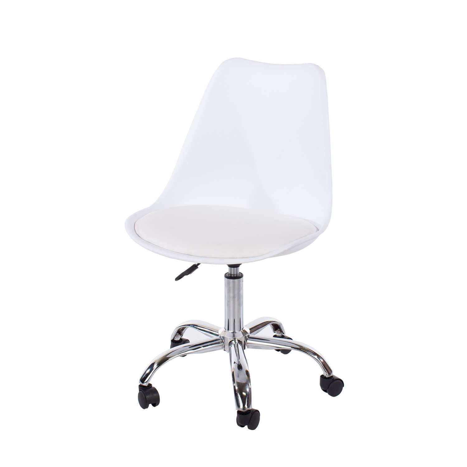 home studio chair with upholstered seat in white