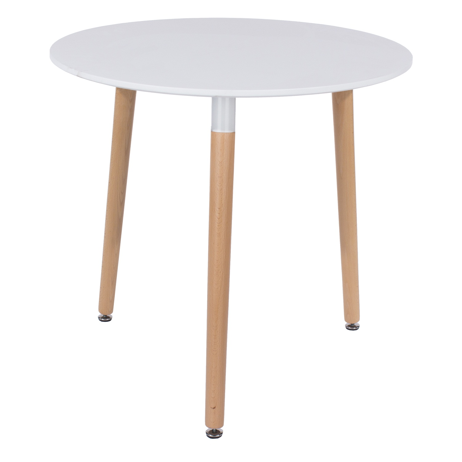 round table with wooden legs, white
