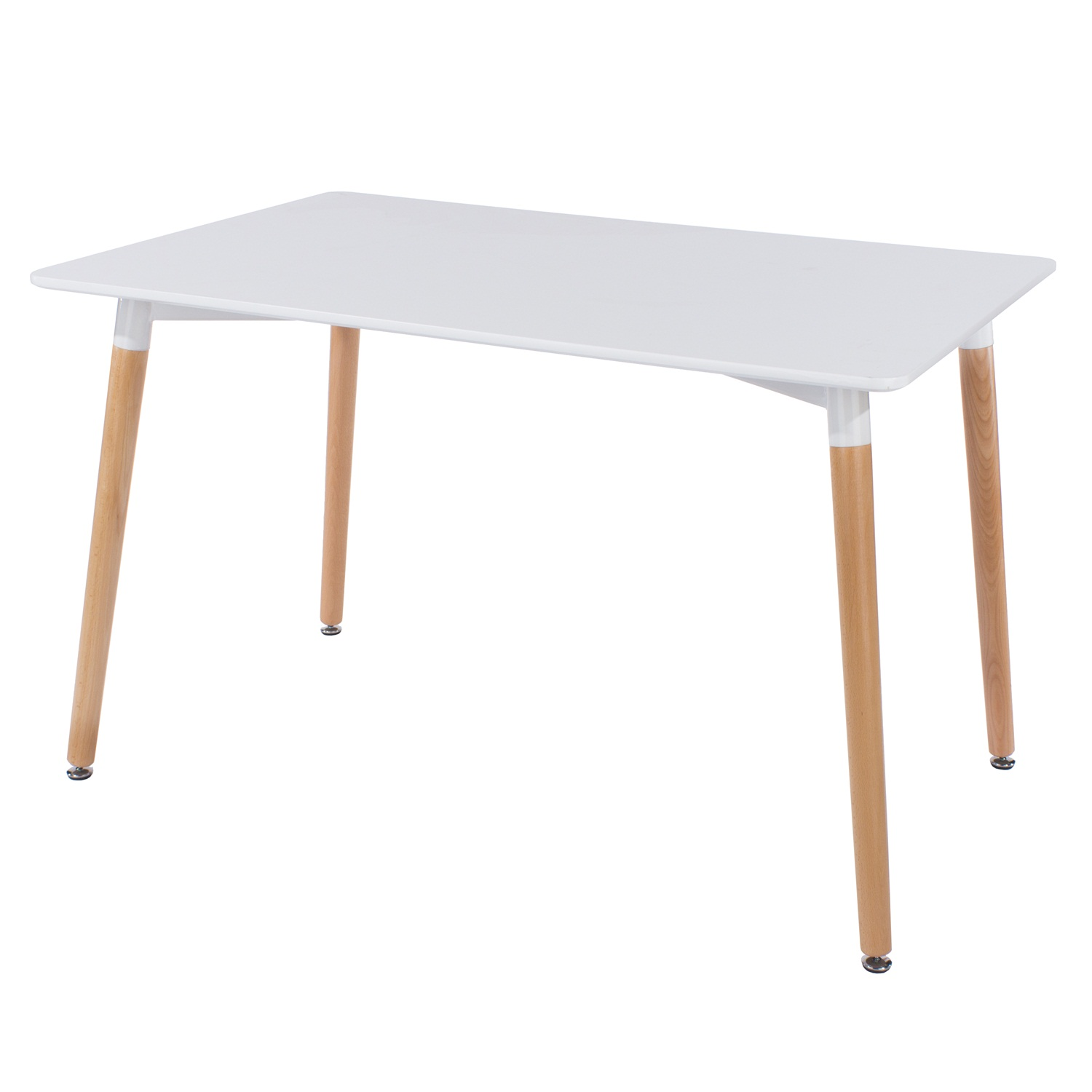 large rectangular table with wooden legs, white