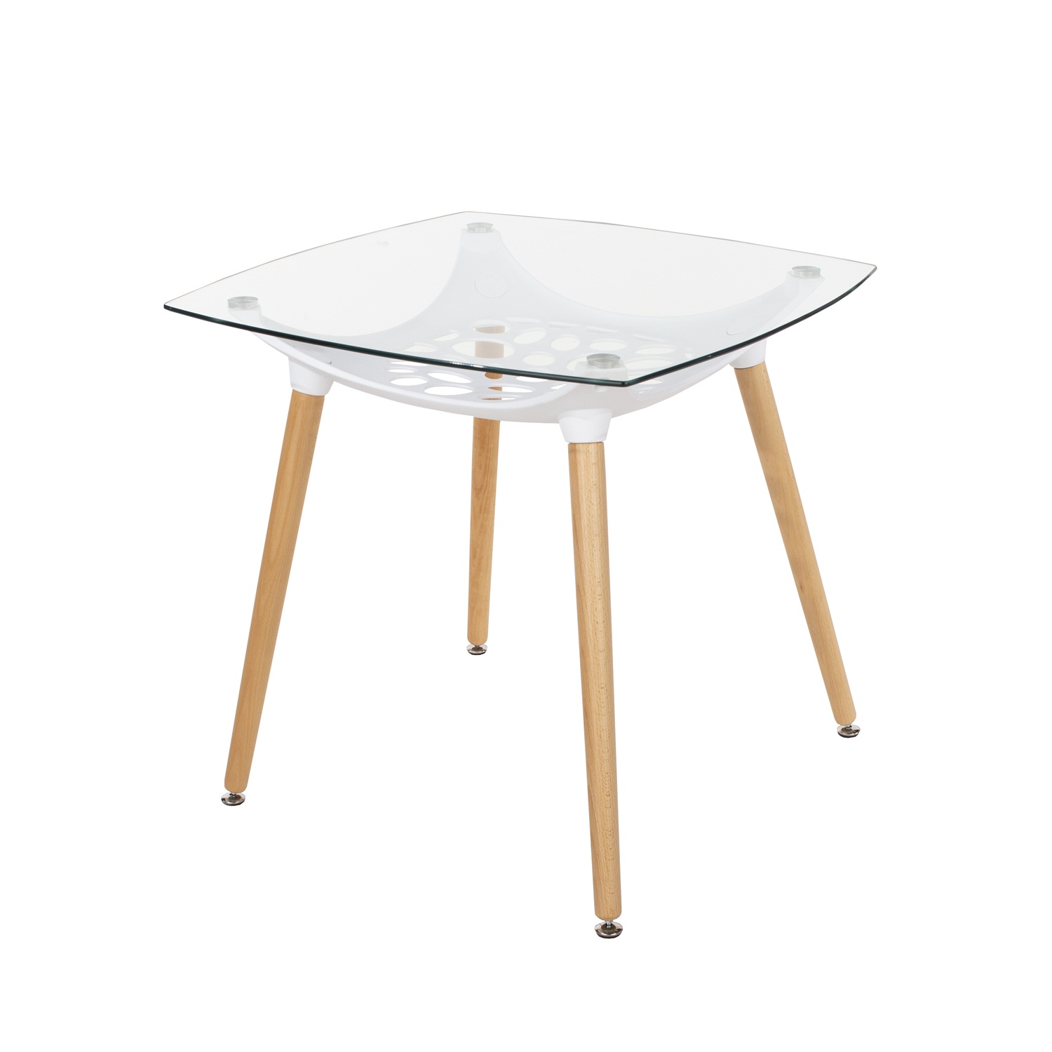 square clear glass top table with white plastic underframe & wooden legs