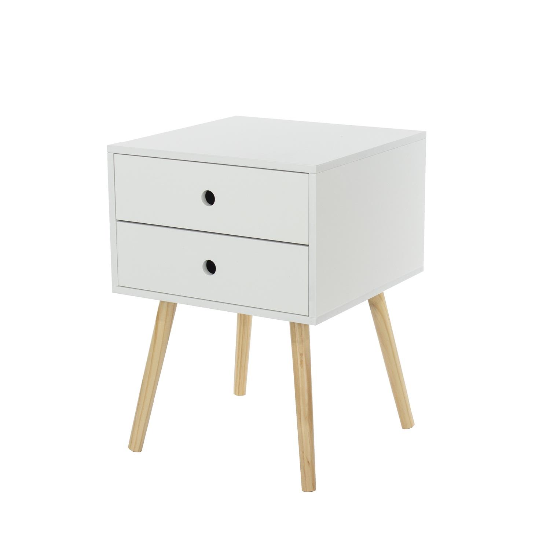 scandia, 2 drawer & wood legs bedside cabinet