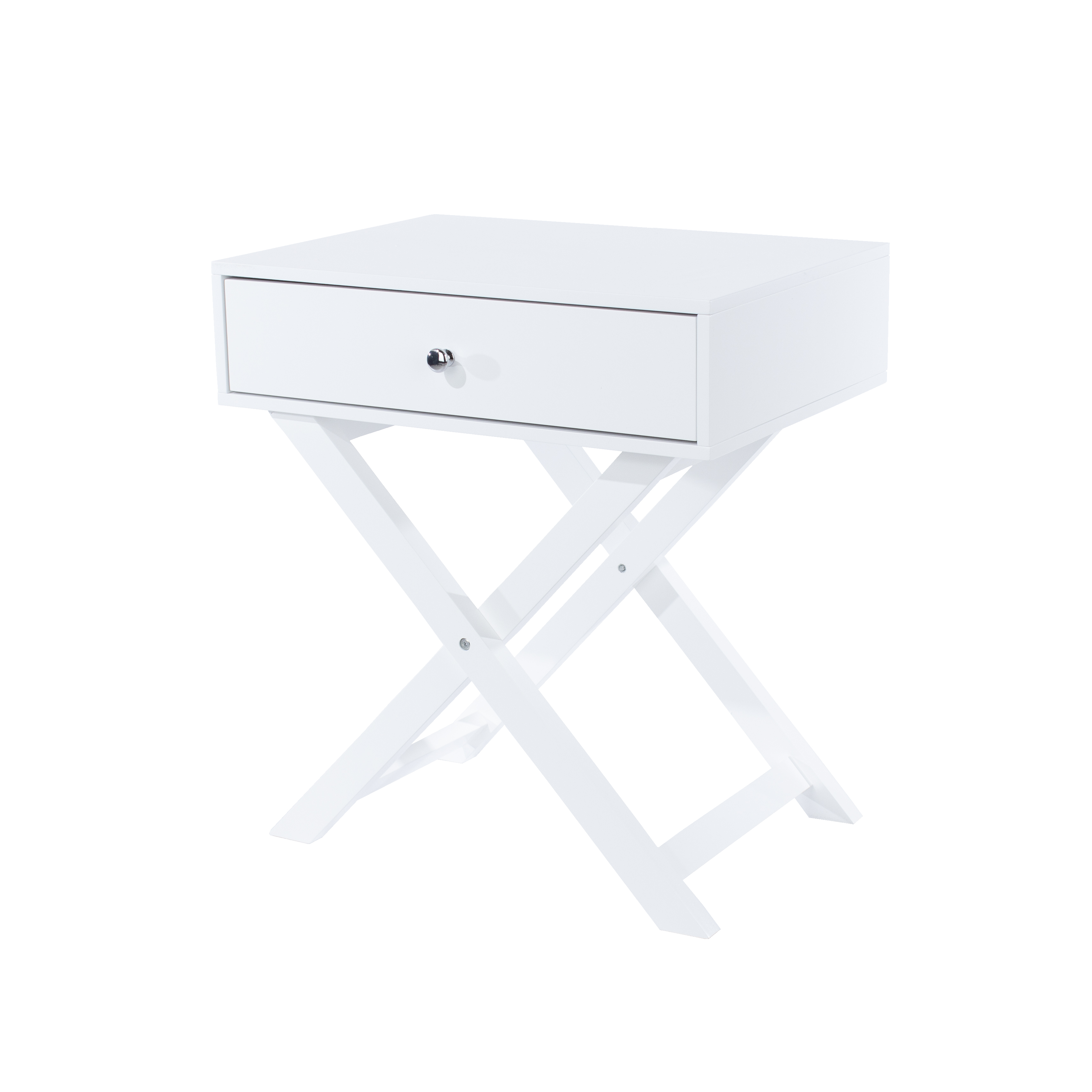 X leg  1 drawer petite bedside cabinet