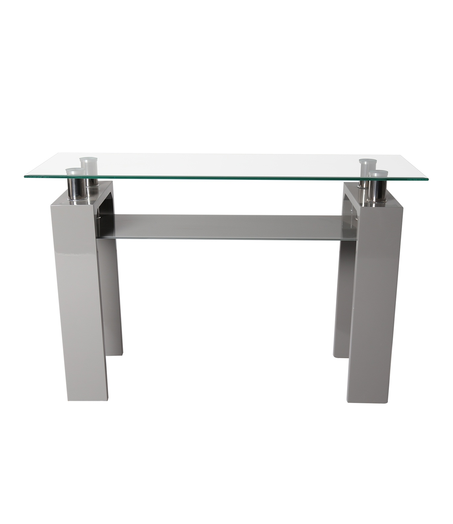Metro console Hi Gloss Grey Clear Glass