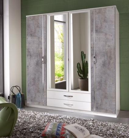 Namiraconcrete Grey And White 4 Door 2 Drawer German Wardrobe 1 Cw Furniture